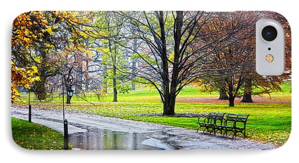 Empty Walkway On A Beautiful Rainy Autumn Day Phone Case by Nishanth Gopinathan