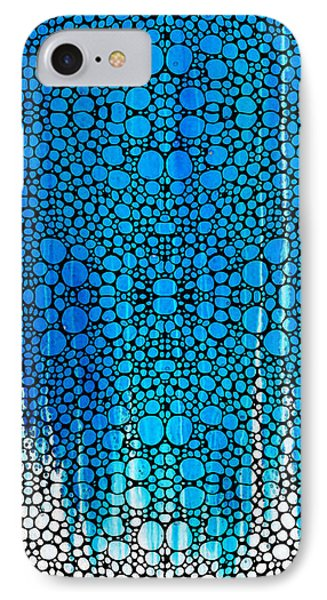Enchanted - Blue And White Abstract Stone Rock'd Art By Sharon Cummings Phone Case by Sharon Cummings