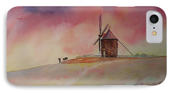 IPhone Case featuring the painting End Of The Day Windmill Of Moidrey by Beatrice Cloake