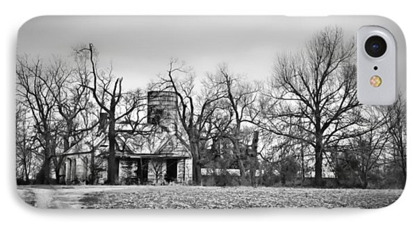 End Of The Road Farmhouse In Bw IPhone Case by Greg Jackson