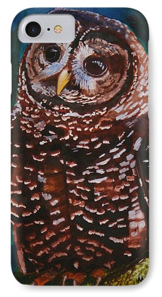 Endangered - Spotted Owl IPhone Case by Mike Robles
