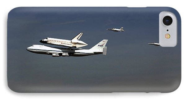Endeavour Space Shuttle In La With Escort Fighter Jets  Phone Case by Howard Koby