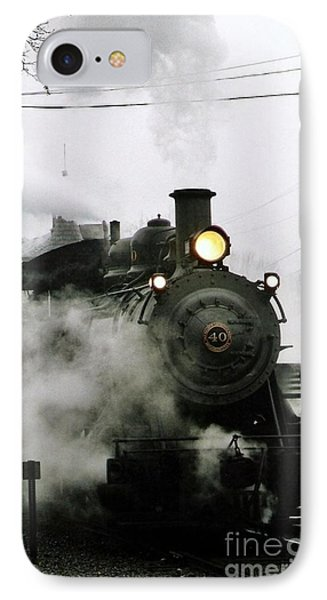 Engine Number 40 Making Steam Pulling Into New Hope Passenger Train Terminal IPhone Case by Michael Hoard