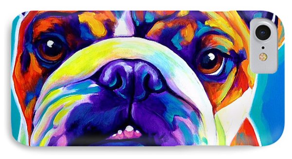 Bulldog - Bond -square IPhone Case by Alicia VanNoy Call