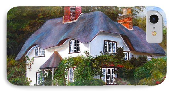 IPhone Case featuring the painting English Cottage by LaVonne Hand