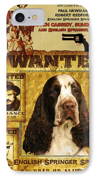 English Springer Spaniel Art Canvas Print - Butch Cassidy And The Sundance Kid Movie Poster IPhone Case by Sandra Sij