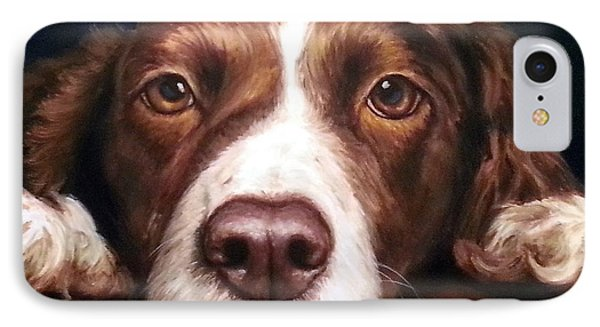 English Springer Spaniel Resting On Dark Red Phone Case by Dottie Dracos