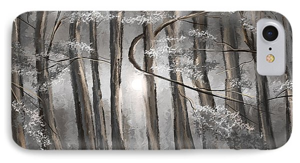 Enigmatic Woods- Shades Of Gray Art IPhone Case by Lourry Legarde