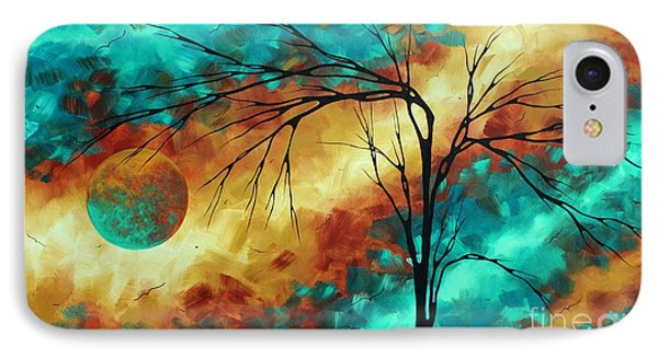 Enormous Abstract Art Brilliant Colors Original Contemporary Painting Reaching For The Moon Madart IPhone Case