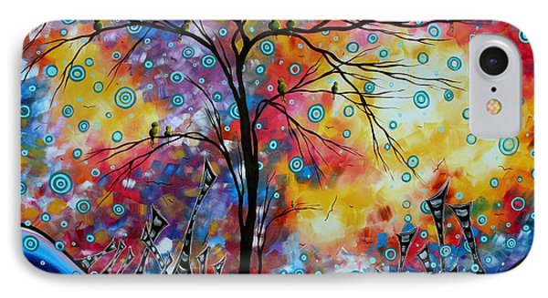 Enormous Whimsical Cityscape Tree Bird Painting Original Landscape Art Worlds Away By Madart IPhone Case by Megan Duncanson