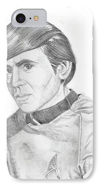 IPhone Case featuring the drawing Ensign Pavel Chekov by Thomas J Herring