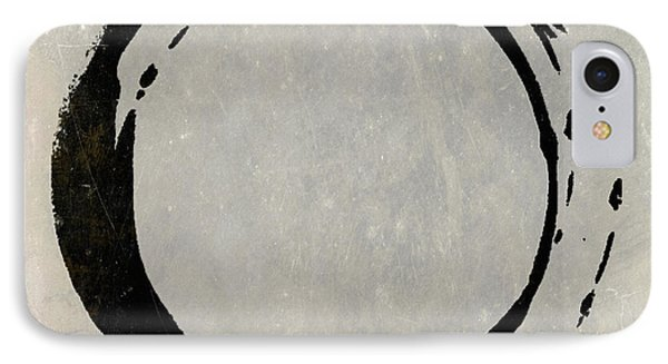 Enso No. 107 Black On Taupe IPhone Case by Julie Niemela