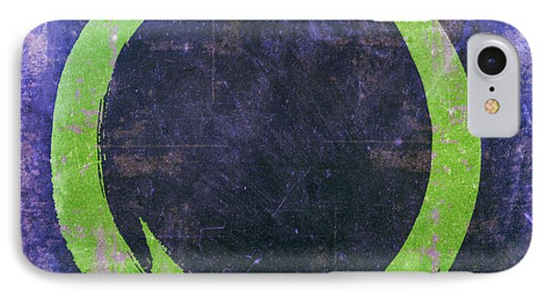 Enso No. 108 Green On Purple IPhone Case by Julie Niemela