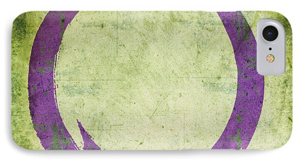 Enso No. 108 Purple On Green IPhone Case by Julie Niemela