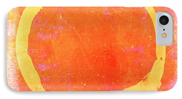 Enso No. 109 Yellow On Pink And Orange IPhone Case by Julie Niemela