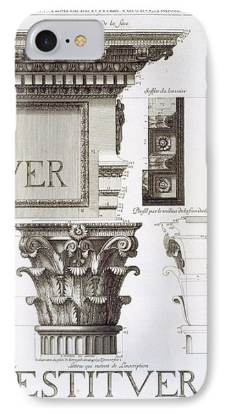 Entablature, Capital And Inscription IPhone Case by Antoine Babuty Desgodets