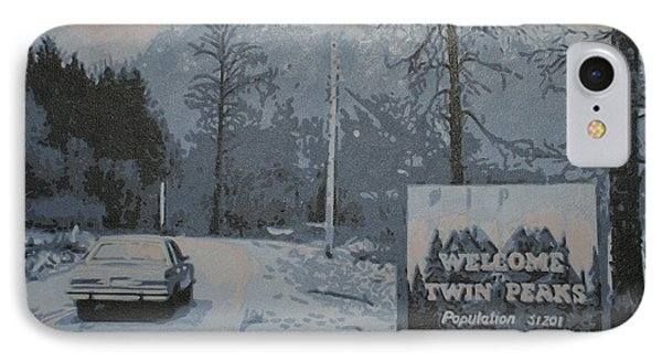 IPhone Case featuring the painting Entering The Town Of Twin Peaks 5 Miles South Of The Canadian Border by Luis Ludzska