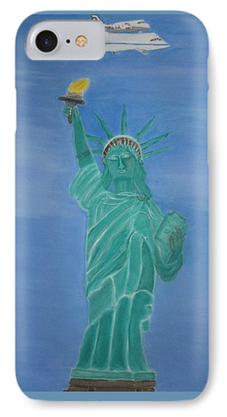 Enterprise On Statue Of Liberty Phone Case by Vandna Mehta