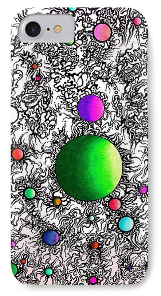IPhone Case featuring the drawing Entropy Color Variation 2 by Devin  Cogger