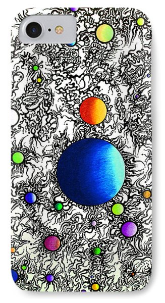 IPhone Case featuring the drawing Entropy Color Variation 4 by Devin  Cogger