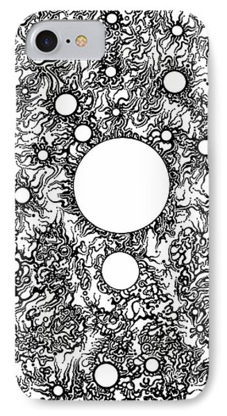 IPhone Case featuring the drawing Entropy Colorless by Devin  Cogger
