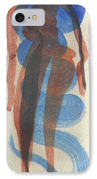 Entwined Figures Series No. 2 Blue Unknown Phone Case by Cathy Peterson