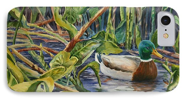 IPhone Case featuring the painting Environmentally Sound - Mallard Duck by Roxanne Tobaison