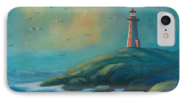 Envisioning Peggys Cove Lighthouse Phone Case by John Malone