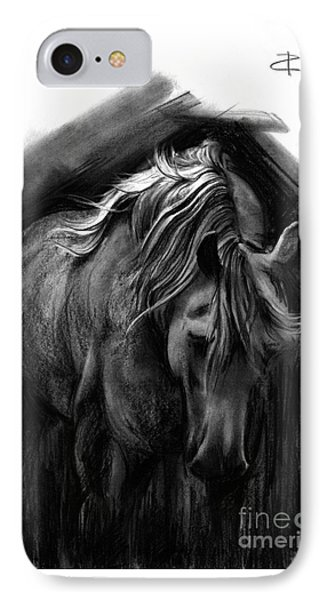 IPhone Case featuring the drawing Equine 1 by Paul Davenport