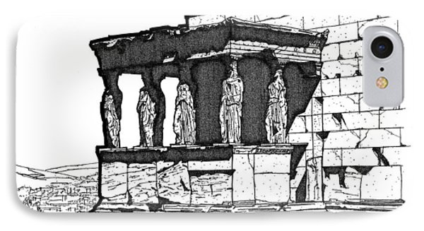 IPhone Case featuring the drawing Erechtheion Caryatids by Calvin Durham