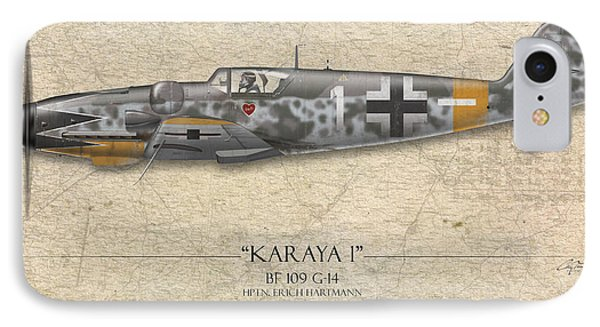 Erich Hartmann Messerschmitt Bf-109 - Map Background Phone Case by Craig Tinder
