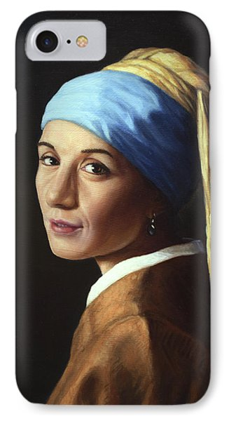 Erika With A Pearl Earring IPhone Case by James W Johnson