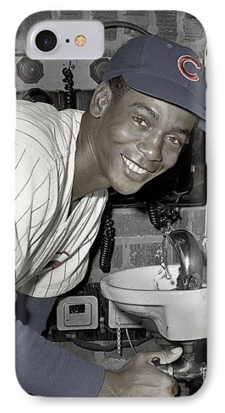 Ernie Banks At Cubs Water Fountain IPhone Case