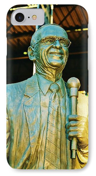 Ernie Harwell Statue At The Copa IPhone Case by Daniel Thompson