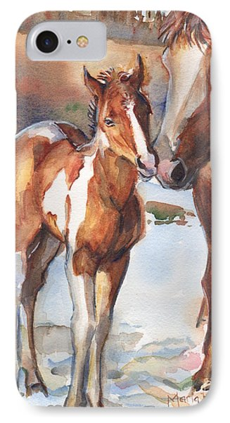 horse painting in watercolor Eskimo Kisses IPhone Case
