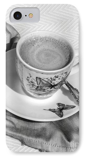 Espresso In Butterfly Cup In Black And White IPhone Case