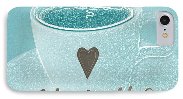 Espresso Love In Light Blue IPhone Case by Linda Woods