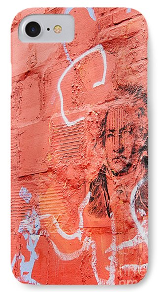 Etched Man On A Red Brick Wall IPhone Case by Jim Lepard