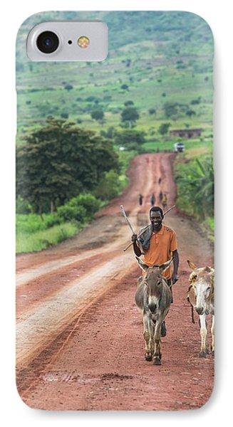 Ethiopian Farmer Walking Donkeys IPhone Case by Peter J. Raymond