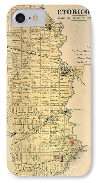 Etobicoke Map 1878 IPhone Case by Georgia Fowler