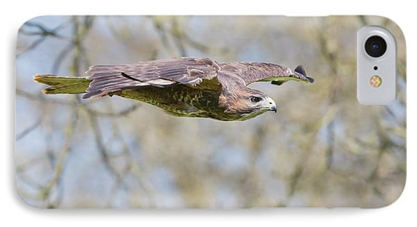 Buzzard iPhone 7 Case - Eurasian Buzzard In Flight by Linda Wright