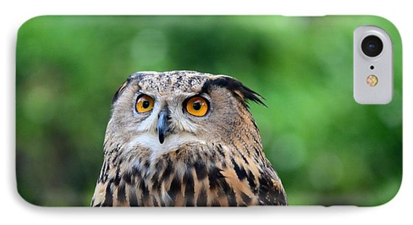 Eurasian Or European Eagle Owl Bubo Bubo Stares Intently IPhone Case by Imran Ahmed