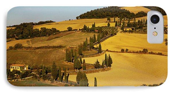 Europe, Italy, Tuscany, Zig Zag Road IPhone Case by Terry Eggers