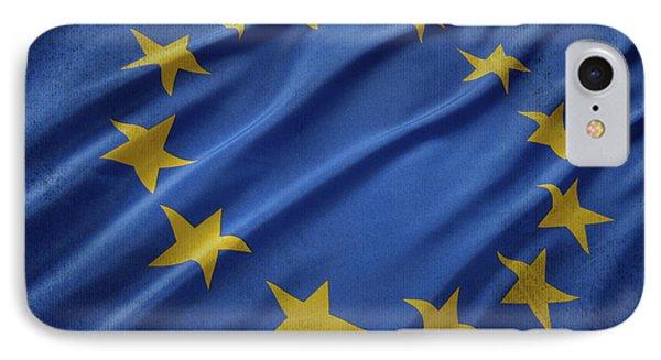 European Union Flag Waving On Aged Canvas IPhone Case by Eti Reid