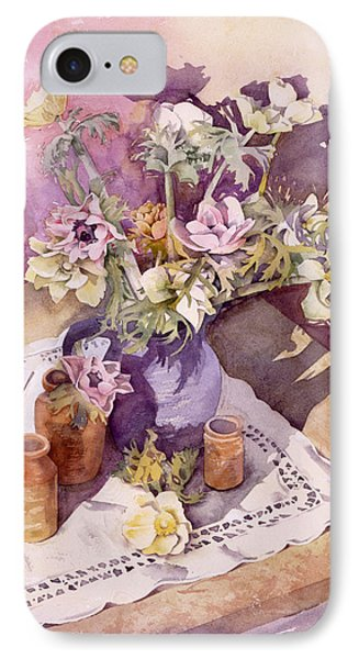 Evening Anemones Phone Case by Julia Rowntree
