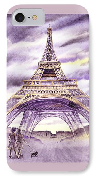 Evening In Paris A Walk To The Eiffel Tower IPhone Case by Irina Sztukowski