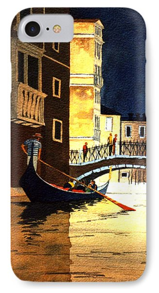 IPhone Case featuring the painting Evening Lights - Venice by Bill Holkham
