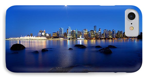 Evening Moon Over Vancouver Harbour 2 IPhone Case by Terry Elniski