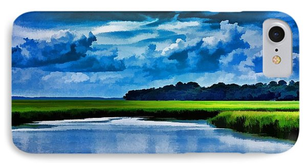 IPhone Case featuring the photograph Evening On The Marsh by Ludwig Keck