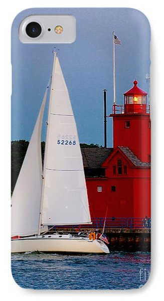 Evening Sail At Holland Light IPhone Case by Nick Zelinsky